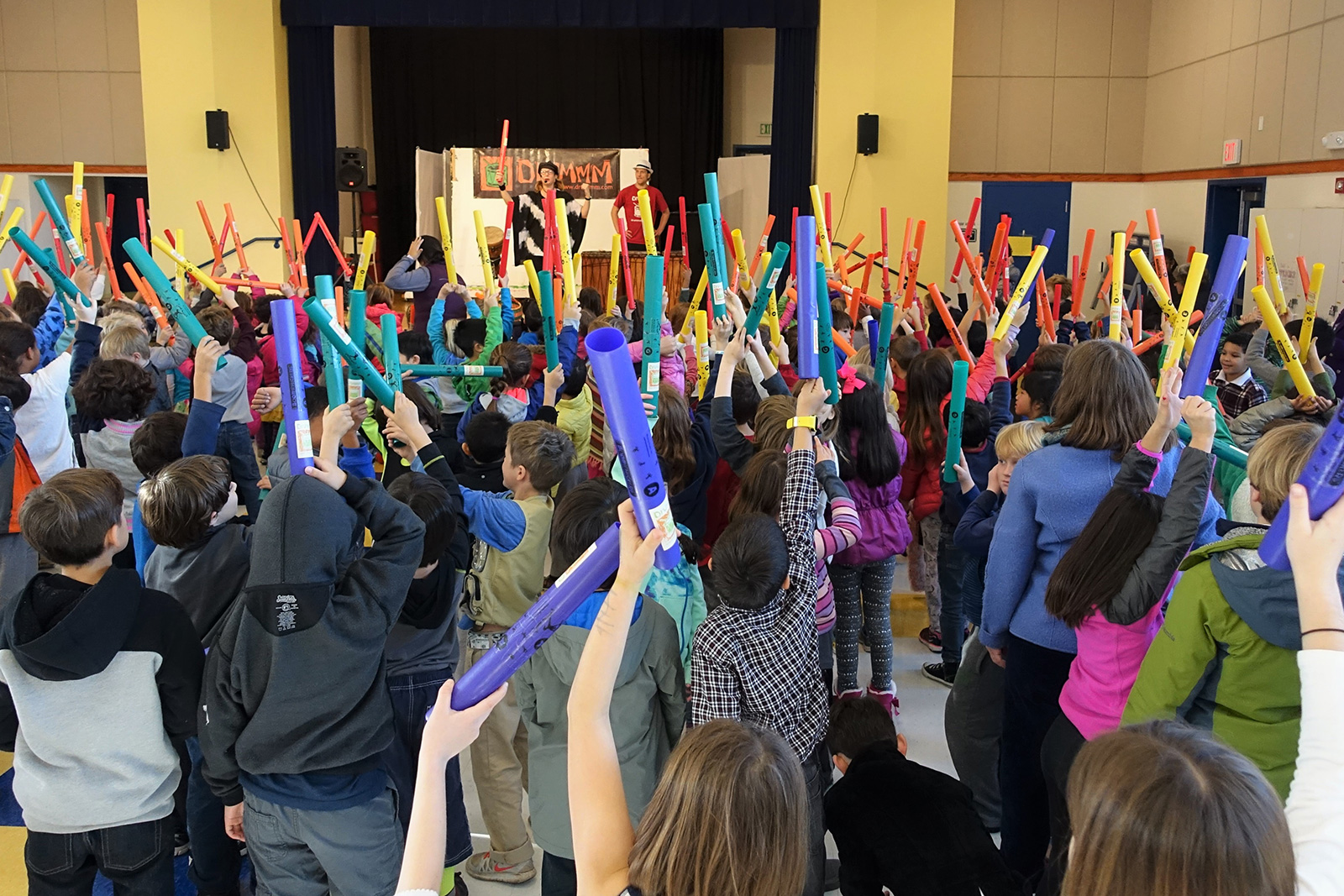 assembly of kids boomwhackers